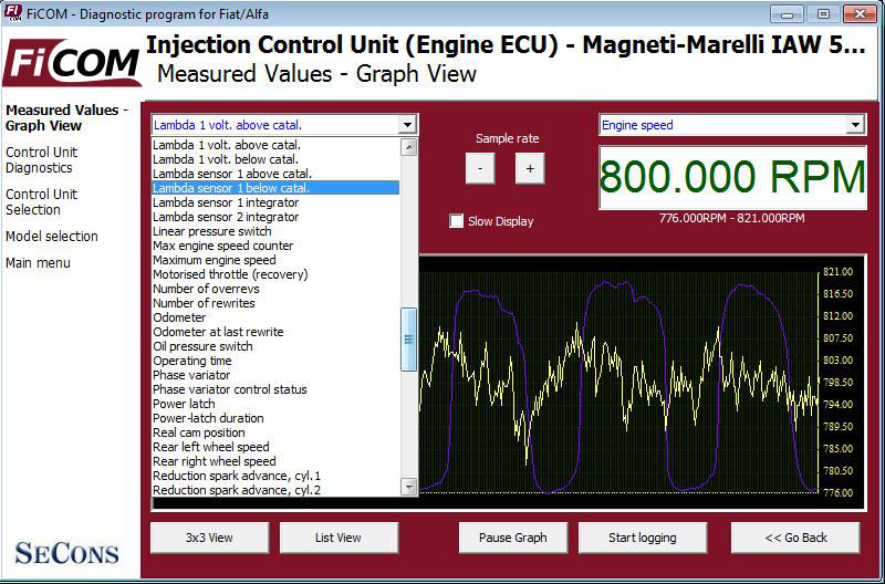 ficom08: OBD-II diagnostic program screenshot
