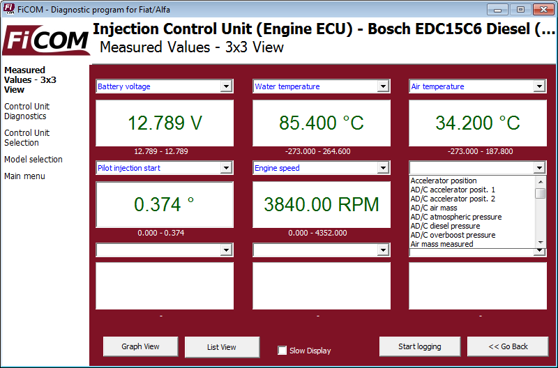 ficom09: OBD-II diagnostic program screenshot