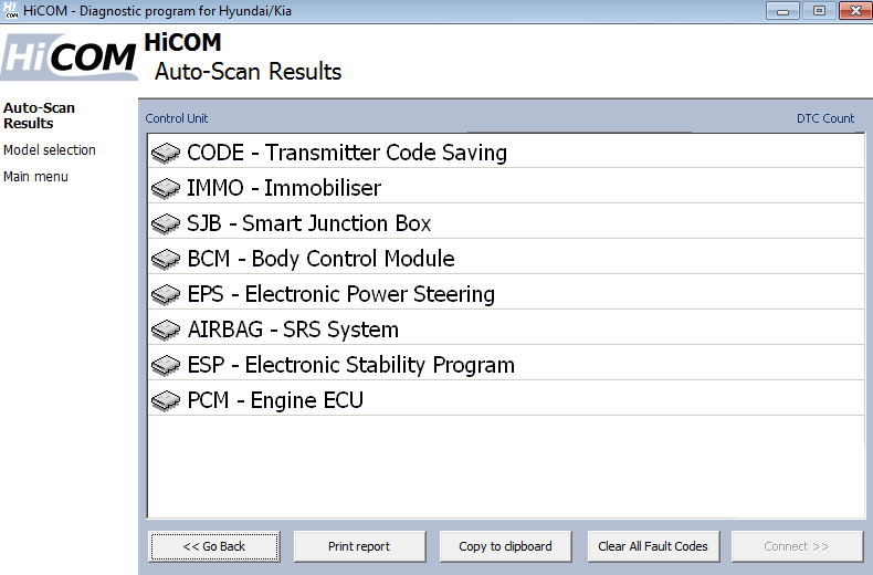 hicom13: OBD-II diagnostic program screenshot