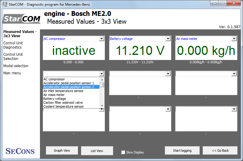 starcom09: OBD-II diagnostic program screenshot
